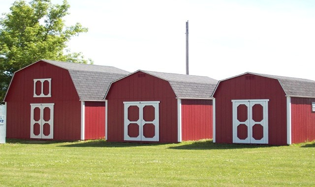 Three Red Sheds
